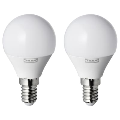 RYET LED bulb E14 250 lumen, globe opal white, 2 pieces