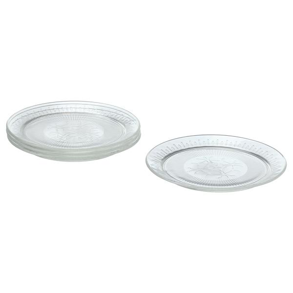 SÄLLSKAPLIG Side plate, clear glass/patterned, 20 cm