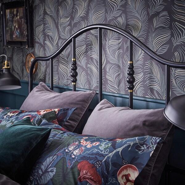 SAGSTUA Bed frame, black/Leirsund, 160x200 cm