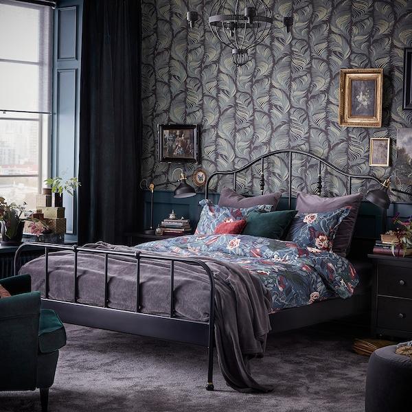 SAGSTUA Bed frame, black/Luröy, 160x200 cm