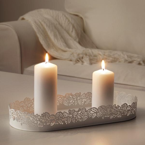 SAMVERKA صحن شمع, شكل بيضاوي أبيض, 35x15 سم