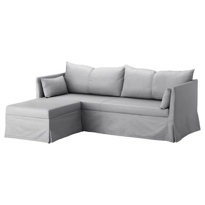 SANDBACKEN Corner sofa-bed, Frillestad light grey