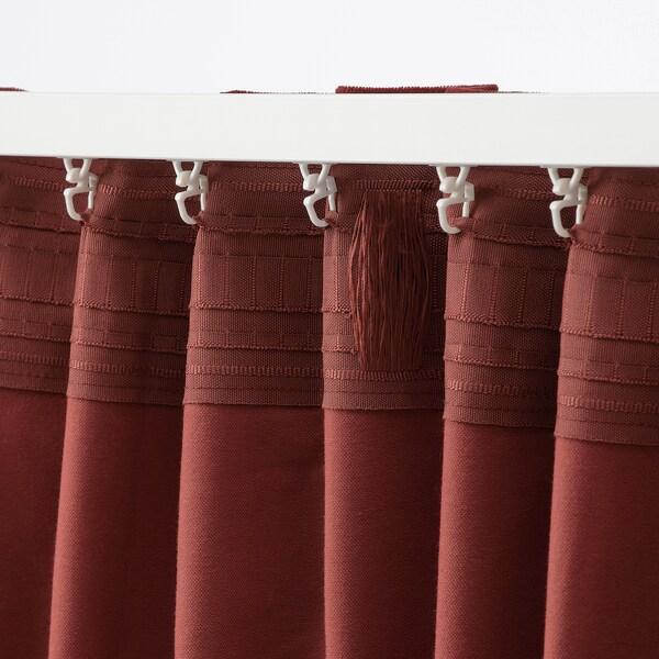 SANELA ستائر عاتمة للغرفة، 1 زوج, أحمر-بني, 140x300 سم