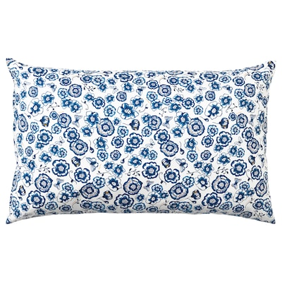 SÅNGLÄRKA Cushion, flower/blue white, 65x40 cm