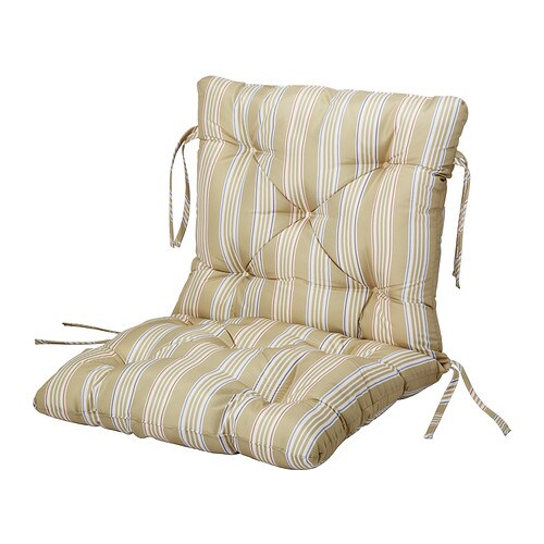 SÄRÖ Seat/back cushion, outdoor   Ties keep the seat/back cushion firmly in place on the chair.