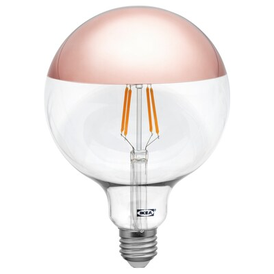 SILLBO LED bulb E27 370 lumen, globe/mirrored top rosé gold coloured, 125 mm