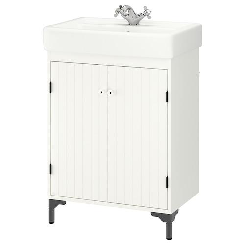 SILVERÅN / HAMNVIKEN wash-basin cabinet with 2 doors white/Runskär tap 63 cm 60 cm 45 cm 90.5 cm