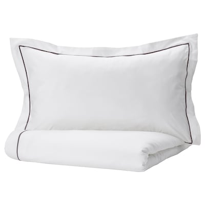 SILVERTISTEL Duvet cover and 2 pillowcases, white/dark grey, 240x220/50x80 cm