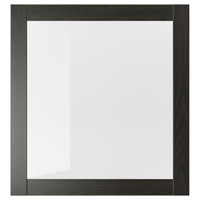 SINDVIK باب زجاج, أسود-بني/زجاج شفاف, 60x64 سم