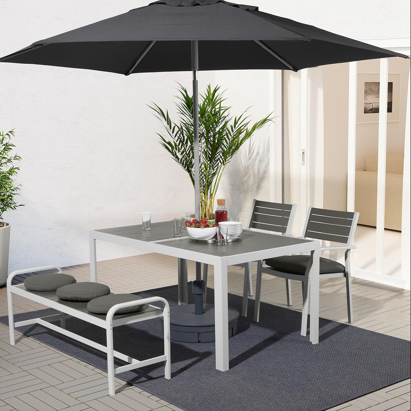 SJÄLLAND Table+2 chairs+ bench, outdoor, dark grey/Frösön/Duvholmen dark grey, 156x90 cm