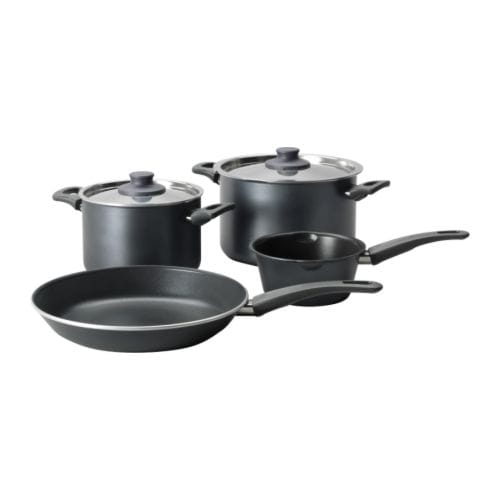 SKÄNKA 6-piece cookware set   Comfortable handles make the cookware easy to lift.