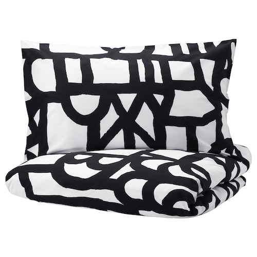SKUGGBRÄCKA quilt cover and 2 pillowcases white/black 152 /inch² 2 pieces 220 cm 240 cm 50 cm 80 cm