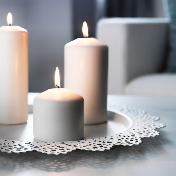 SKURAR صحن شمع, أبيض, 37 سم