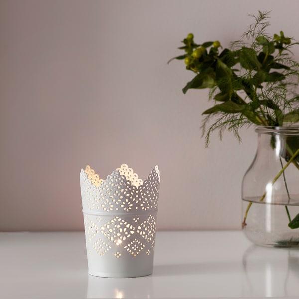 SKURAR شمعدان, أبيض, 11 سم