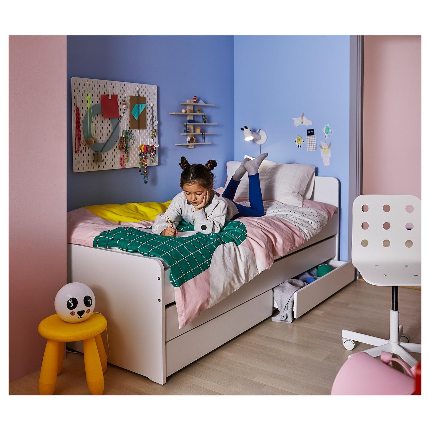 SLÄKT Bed frame with underbed and storage - white 4x4 cm