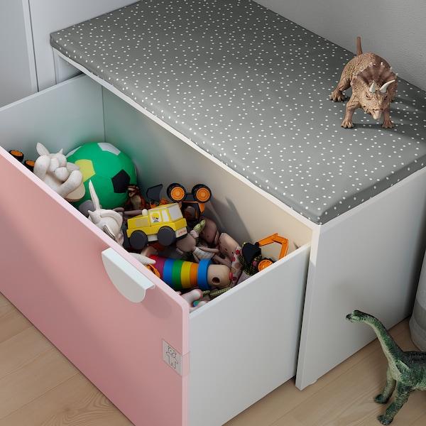 SMÅSTAD Bench with toy storage, white/pale pink, 90x52x48 cm