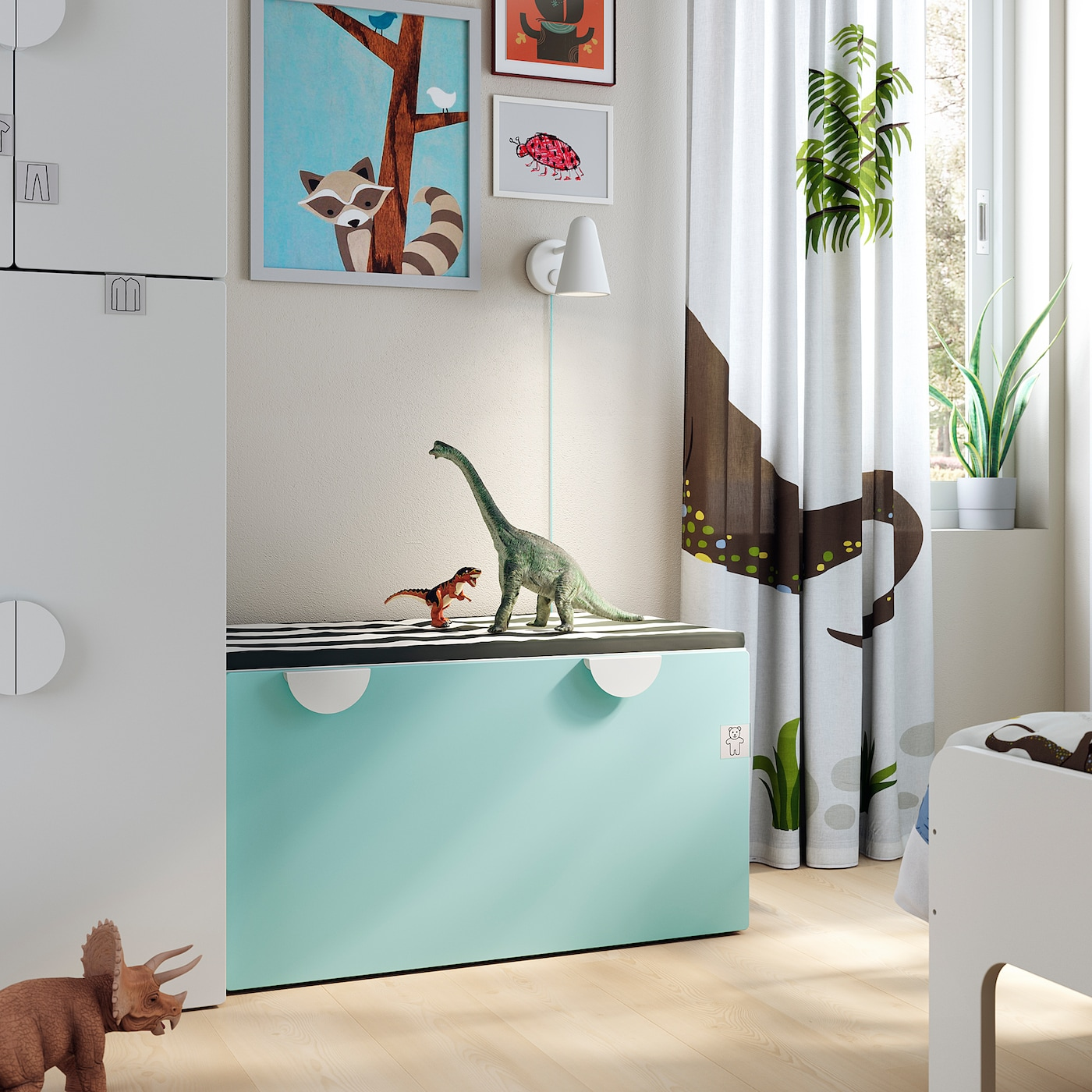SMÅSTAD Bench with toy storage, white/pale turquoise, 90x52x48 cm