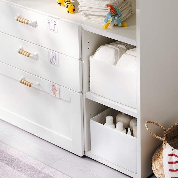 SMÅSTAD Changing table, white with frame/with 3 drawers, 90x79x100 cm