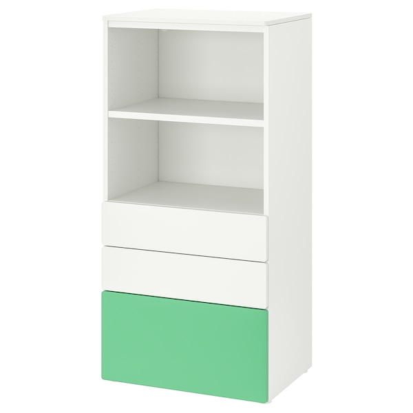 SMÅSTAD / PLATSA Bookcase, white green/with 3 drawers, 60x42x123 cm