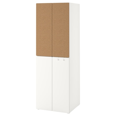 SMÅSTAD دولاب ملابس, أبيض عازل حرارة من الفلّين/مع ماسورتي تعليق ملابس, 60x57x181 سم