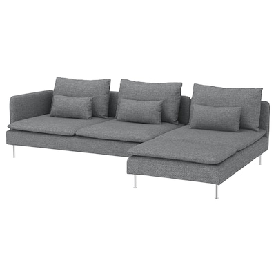 SÖDERHAMN 4-seat sofa, with chaise longue and open end/Lejde grey/black