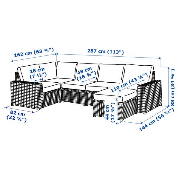 SOLLERÖN وحدة كنب زاوية 4 مقاعد، خارجي, مع مسند أقدام رمادي غامق/Frösön/Duvholmen بيج