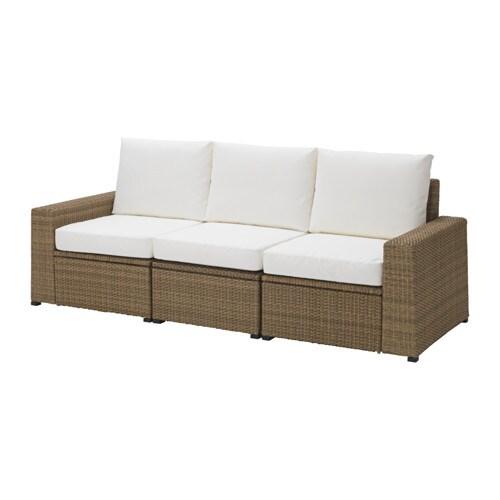 Soller n 3 seat sofa outdoor brown kungs white ikea - Ikea sofa exterior ...