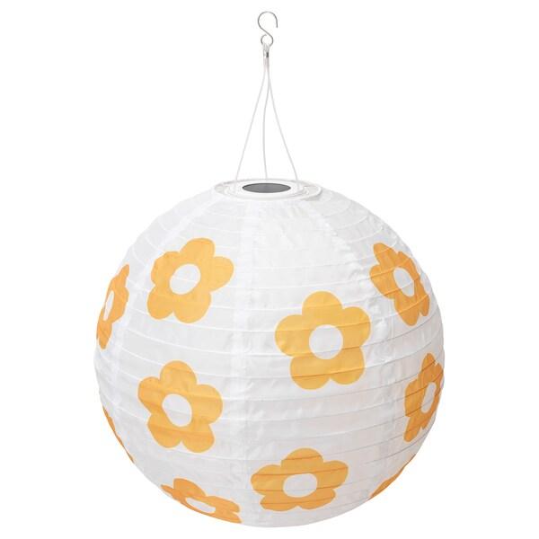 SOLVINDEN LED solar-powered pendant lamp, outdoor globe/flower patterned yellow, 45 cm