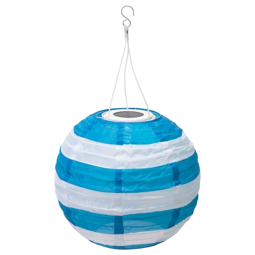 SOLVINDEN LED solar-powered pendant lamp outdoor globe/striped blue 30 cm 26 cm 26 cm