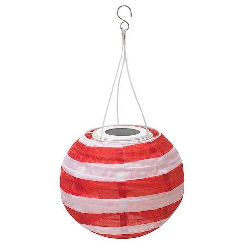 SOLVINDEN LED solar-powered pendant lamp outdoor globe/striped red 22 cm 19 cm 19 cm