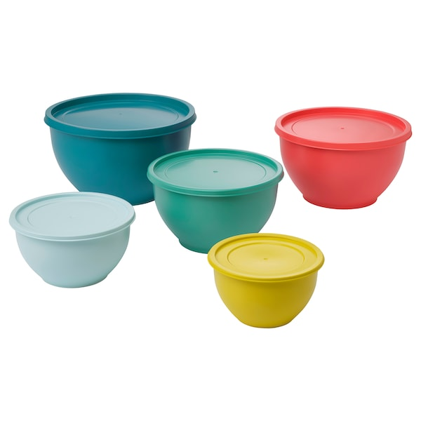 SOMMARDAG Bowl with lid, set of 5, mixed colours