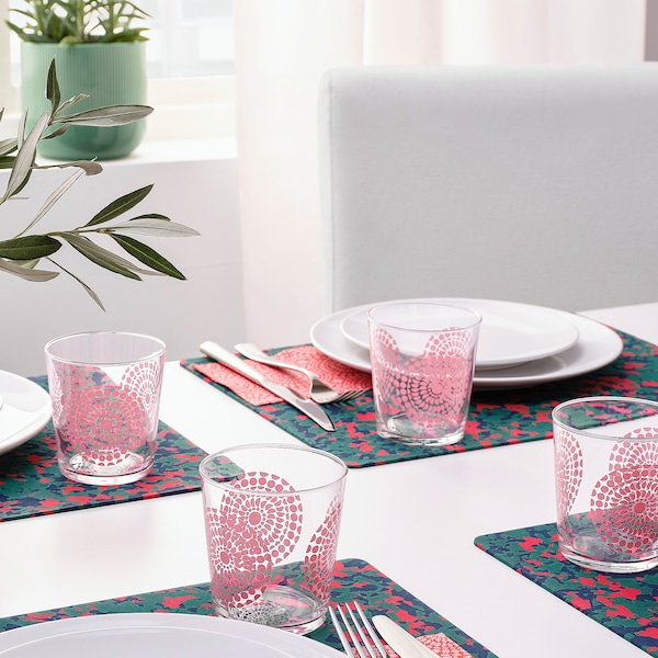 SOMMARLIV glass patterned/pink 9 cm 30 cl 4 pieces