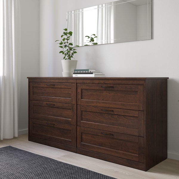 SONGESAND Chest of 6 drawers, brown, 161x81 cm