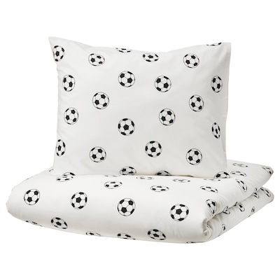 SPORTSLIG Quilt cover and pillowcase, football pattern, 150x200/50x80 cm
