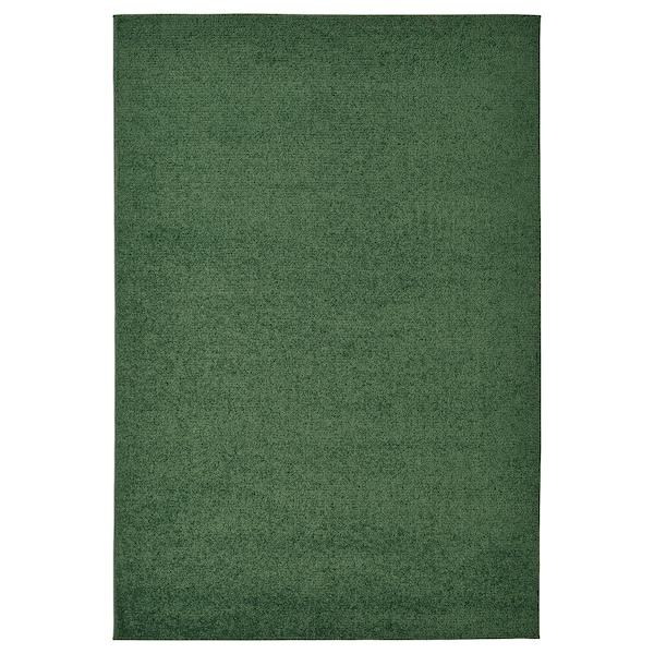 SPORUP Rug, low pile, dark green, 133x195 cm