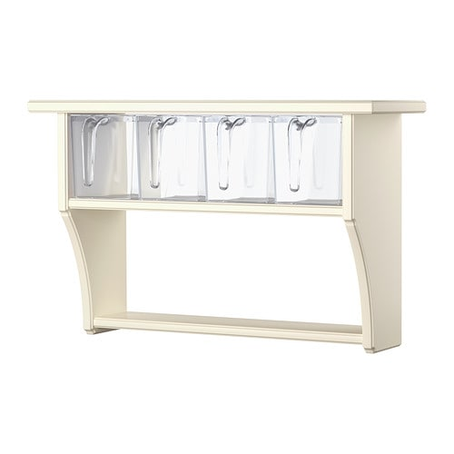 STENSTORP Wall shelf with drawers   The contents are easy to see and reach as the 4 plastic drawers are transparent and have removable lids.