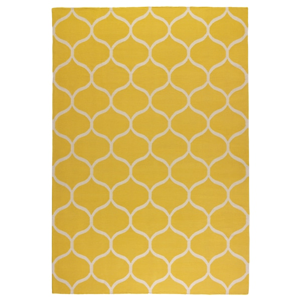 STOCKHOLM Rug, flatwoven, handmade/net pattern yellow, 170x240 cm