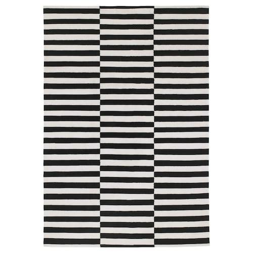 STOCKHOLM rug, flatwoven handmade/striped black/off-white 240 cm 170 cm 4 mm 4.08 m² 1350 g/m²