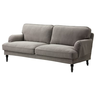 STOCKSUND 3-seat sofa, Nolhaga grey-beige/black/wood