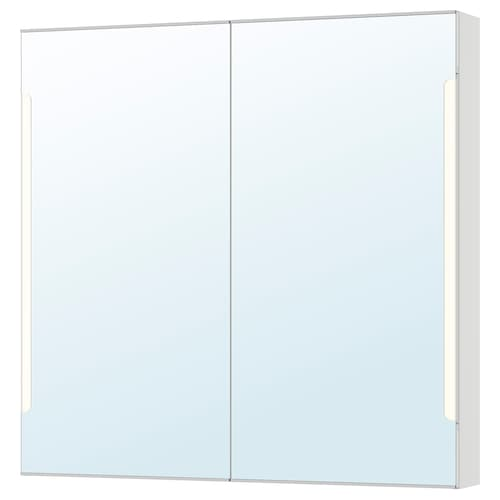 STORJORM mirror cab 2 door/built-in lighting white 100 cm 14 cm 96 cm