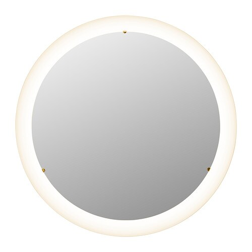 STORJORM Mirror with integrated lighting   The LED lightsource consumes up to 85% less energy and lasts 20 times longer than incandescent bulbs.