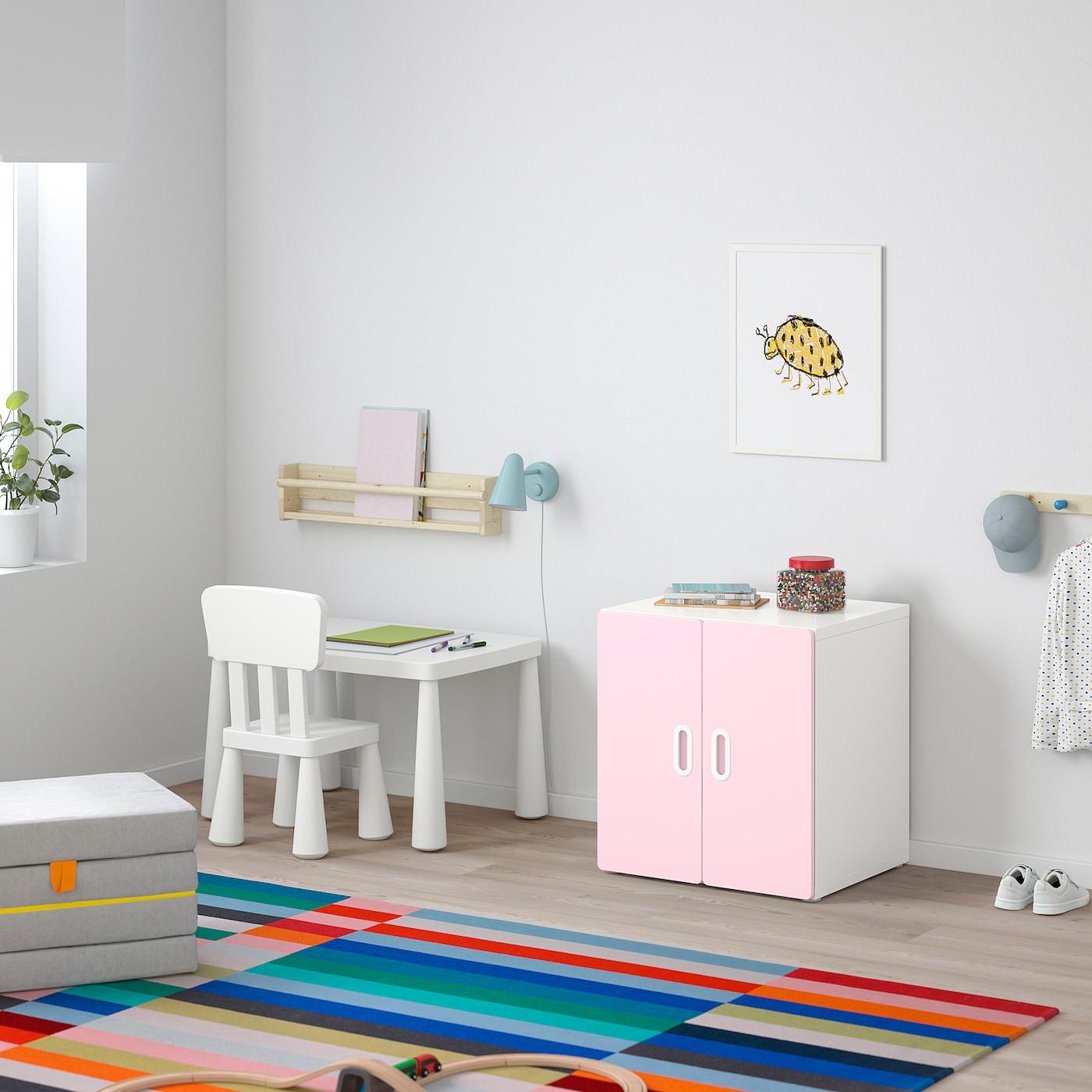 STUVA / FRITIDS Cabinet, white/light pink, 60x50x64 cm