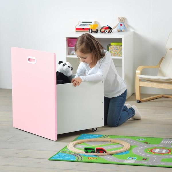 STUVA / FRITIDS Toy storage with wheels, white/light pink, 60x50x64 cm