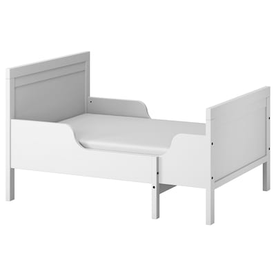 SUNDVIK سرير قابل للتمديد مع قاعدة شرائحية, رمادي, 80x200 سم