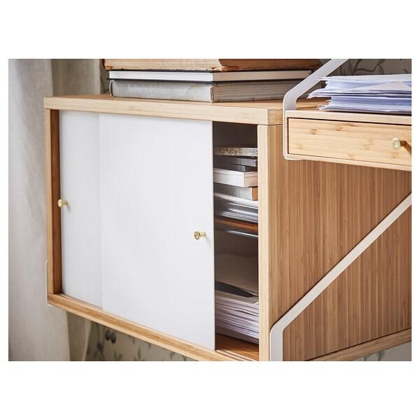 SVALNÄS خزانة مع درجين, خيزران/أبيض, 61x35 سم