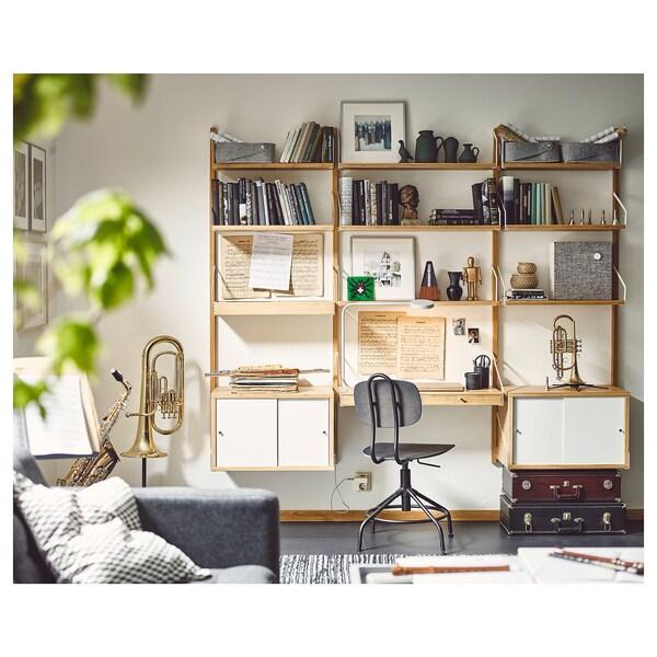 Scrivania A Muro Ikea.Svalnas Wall Mounted Workspace Combination Bamboo White Ikea