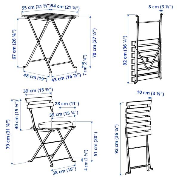 TÄRNÖ Table+2 chairs, outdoor, black/light brown stained/Frösön/Duvholmen beige
