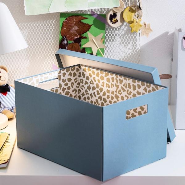 TJENA Storage box with lid, blue, 25x35x20 cm