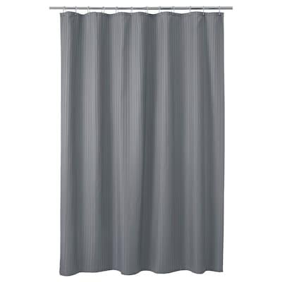 TOLFSEN Shower curtain, dark grey/satin stripe, 180x200 cm