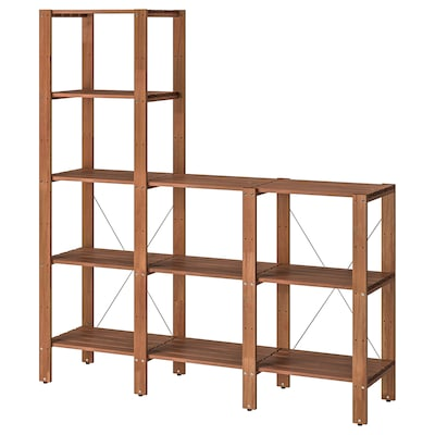 TORDH Shelving unit, outdoor, brown stained, 210x35x90-161 cm